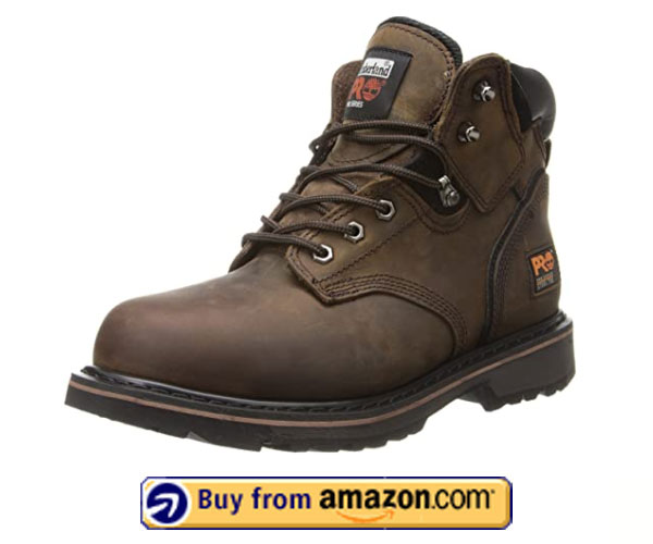 Timberland PRO Men's Pitboss Steel-Toe Boot, Brown – Best Men's Shoes For Standing All Day On Concrete 2020